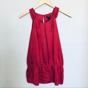 Ann Taylor Sleeveless Ruched Blouse Red Sz 6P